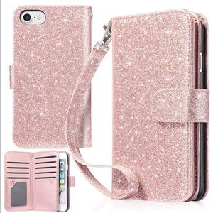7 plus iPhone and iPhone 8 phone pink glitter case